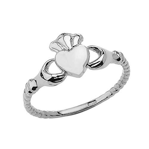Kleine Schätze Damen Ring SSchickker traditioneller irischer Claddagh Ring in Sterling Silber