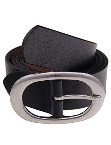 Leslii schwarzer klassischer Uni-farbener Damen-Gürtel Schwarz echtes Leder Ledergürtel Größe 95 M runde ovale Schnalle