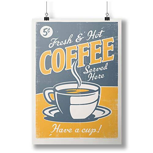 Fresh And Hot Coffee Served Here Retro Art A0 A1 A2 A3 A4 Poster de fotos satinado p11893anh