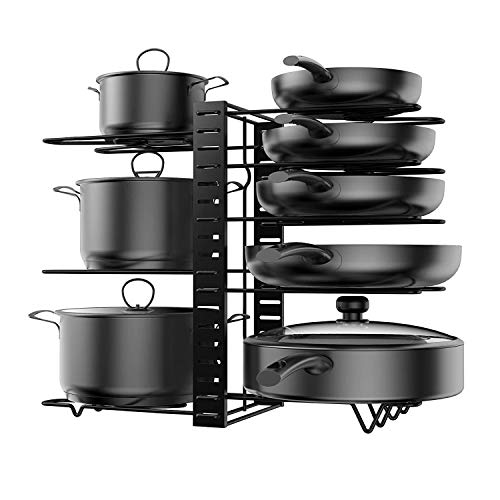 Kleverise Organizador con Divisores Ajustables para Ollas - Estante para Guardar Sartén Tapa Utensilios - Almacenamiento en Construcción de Acero Duradero para Ahorrar Espacio de Cocina (8 Capas)