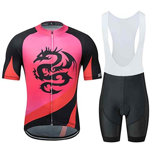 Dragón Imprimir Conjunto Ropa Equipacion, 2 Piezas Ciclismo Maillot y Culotte Pantalones...