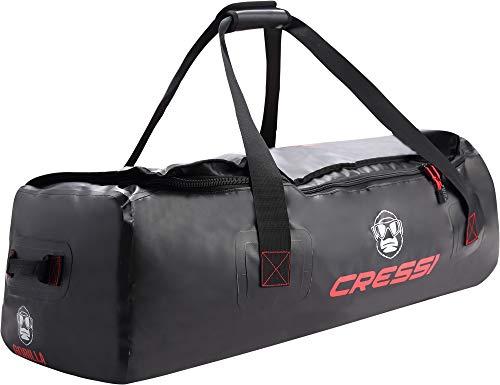Cressi Gorilla Bag Bolsa Impermeable Grande para Buceo, Adecuada para Sujetar Aletas largas de apnea, Unisex-Adult, Negro/Rojo, Talla única