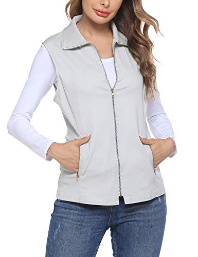 Dealwell Women's Stretchy Lightweight Sleeveless Military Jacket Vest with Zipper (Beige XXL)