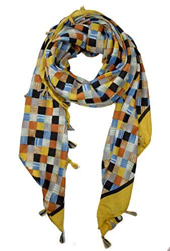 GoFashion CO045S9505 - Pañuelo de hombro con flecos para mujer, color azul, rojo y negro