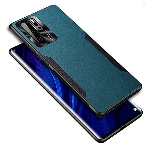 MOONCASE Capa para Huawei P30 Pro, capa protetora ultrafina de couro PU de duas cores TPU macio antiderrapante capa antiarranhões para Huawei P30 Pro 6,4 polegadas (ciano)