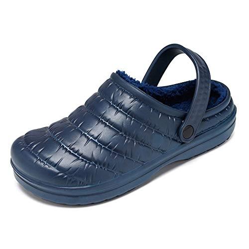 AYDQC Zapatillas para Hombres Invierno Invierno Zapatos de Abrigo Cálido de Fondo Grueso Peluche de Cuero a Prueba de Agua Zapatillas de algodón Hombre 2020, Size : Code 46