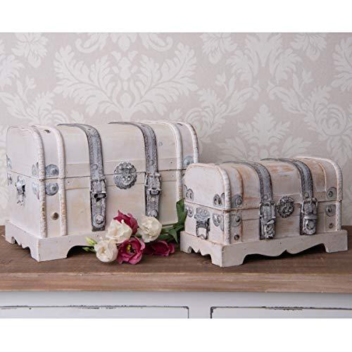 Schatzkiste Holz Weiß 2er Set Geschenk Schatztruhe Piratenkiste Holzkiste mit Deckel Truhe Holzbox Hochzeit Kiste Kinder Aufbewahrungsbox Treasure Box Treasure Chest Holztruhe Klein Antik Deko