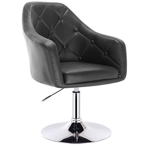 WOLTU® BH104sz 1x Barsessel Loungesessel, stufenlose Höhenverstellung, verchromter Stahl, Kunstleder, gut gepolsterte Sitzfläche mit Armlehne und Rücklehne, Schwarz