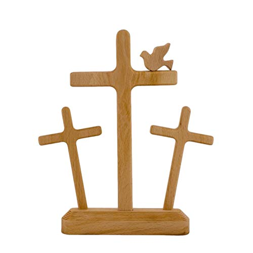 Easter Scene Wooden Nativity Set, Wooden Manger Nursery Nativity Scene, Easter Decoration Wooden Cross Resurrection Scene Decoration, Minimalist Nativity Scene (G)