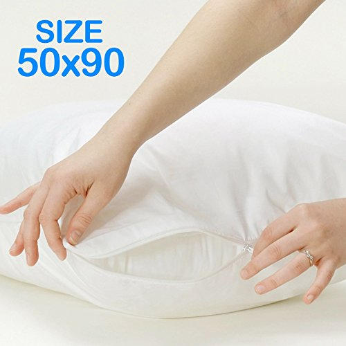 Big Buy direct 100% cotone, 50 x 90 cm-Federe protettive con Zip resistenti ai liquidi, lavabili in lavatrice, antiallergiche e antibatteriche, 2 pezzi