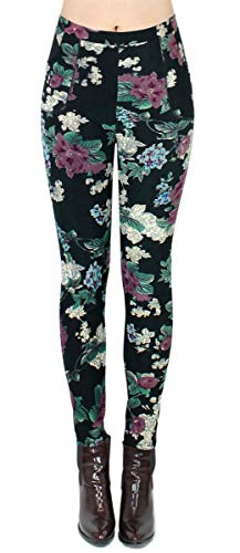 dy_mode Thermo Leggings Damen Thermohosen mit Innenfleece - WL025 (40/L, WL012-PaintedFlowers)