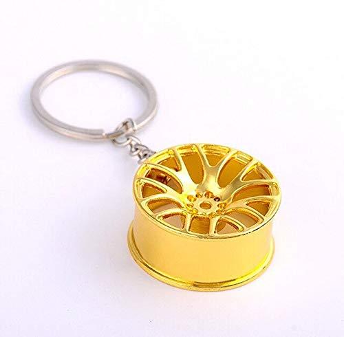 MEIHEK Schlüsselanhänger Schlüsselanhänger 3D Miniatur BBS Felge Keychain Metall Autoschlüssel Ring Radnabe Schlüsselanhänger Autoverkaufsgeschenke für Freund Geschenk 17156 Gold