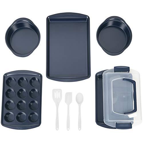 Wilton Non-Stick Diamond-Infused Navy Blue Baking Set with Utensils, 9-Piece