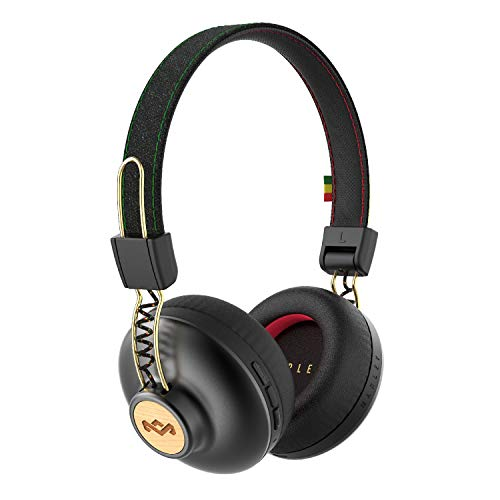 House of Marley Positive Vibration 2 Cuffie Bluetooth Wireless con Microfono, Diver da 40 mm, Design Confortevole On-Ear, Pieghevole, Batteria 12 ore, Nero/Oro