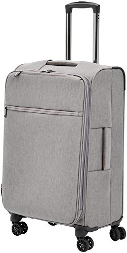 AmazonBasics Belltown, Softside Expandable Luggage Spinner Suitcase with Wheels, 26 Inch, Grey