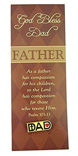 CB Gold ton Dad Anstecknadel mit Herz und Kreuz auf Vater Lesezeichen, 2,5cm