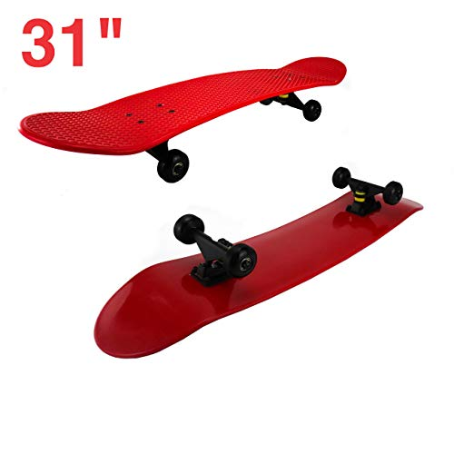"31"" Street Cruiser Skateboard Retro Plastic Classic Portable Long Board High Speed Skating Performance Super Smooth Pu Wheels (Red)"