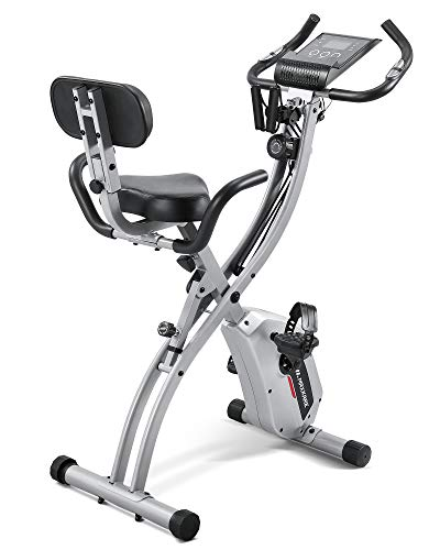 Maxkare Upright Folding Exercise Bike Stationary Recumbent Magnetic Indoor Cycling Bike with Arm Resistance Bands/Adjustable Resistance/LCD Monitor for Home Use