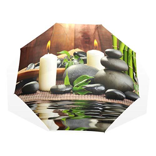 LASINSU Regenschirm,Zen Basaltsteine und Bambus das Holz,Faltbar Kompakt Sonnenschirm UV Schutz Winddicht Regenschirm
