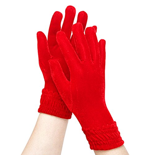 Damen Handschuhe Warme Samt Fingerhandschuhe Thermohandschuhe Winter Fahrradhandschuhe für Frauen und Mädchen,Rot