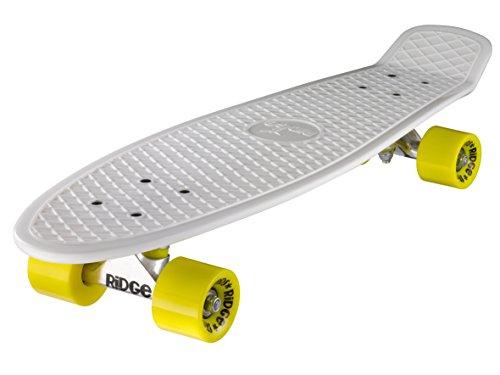 Ridge Skateboards 27 Inch Big Brother Retro Mini Cruiser Nickel Skateboard - UK Vervaardigd - wit, geel
