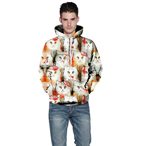 Herren Damen Halloween Horror Skelett Kostüm Kapuzenpullover Sweatshirts mit 3D Katze Drucken Langarm Paare Hoodies Oberteile Top Bluse Shirts URIBAKY