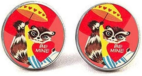 Vintage Raccoon Cufflinks low-pricing Jewelry Picture Art Large special price Charm Jew