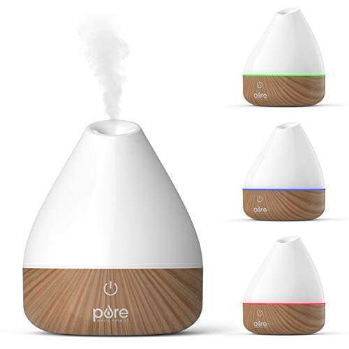 Pure Enrichment PureSpa Natural Essential Oil Diffuser (White) – 200ml Water Tank Lasts Up to 10 Hours with Soft Color-Changing Lights and Auto Safety Shut-Off