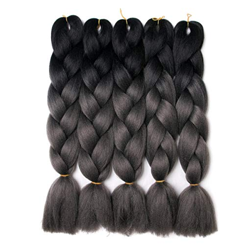Lady Corner Ombre Braiding Hair 24inch Jumbo Braids High Temperature Fiber Synthetic Hair Extension 5pcs/Lot 100g/pc for Twist Braiding Hair (Black-Silver grey)