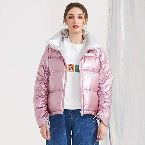 FAPROL-Down Jackets Doudounes Femme, Jeunesse Blanc Duvet De Canard Veste d'hiver Adolescente Manteaux, Design Brillant Manches Raglan Pink XS
