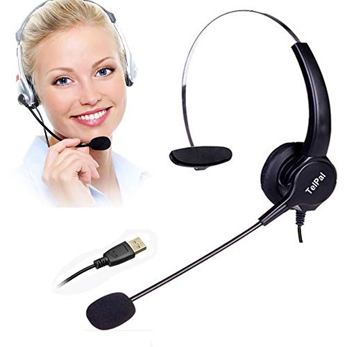 TelPal Corded Noise Cancelling Monaural Headset with USB Headset Adapter as Office PC Headset for Computer/PC/Laptop Use Only