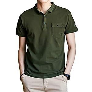 SHANLIANG 夏服 ポロシャツ メンズ 半袖 通気性 吸汗速乾 poloシャツ ゴルフウェア シンプル 春夏季対応 トップス (グリーン, XX-Large)