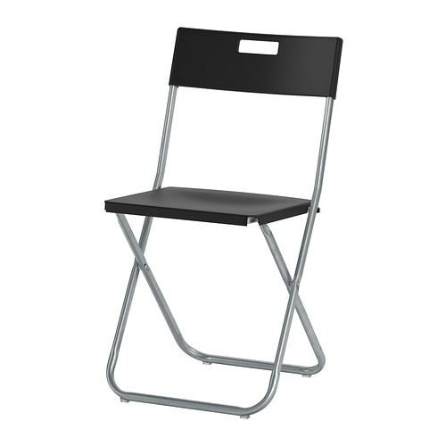 Gunde – Silla plegable, color negro