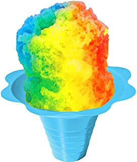 Flower Cups for Serving Shaved Ice or Snow Cones, Medium 8 Ounce, Case of 500, Blue/Yellow