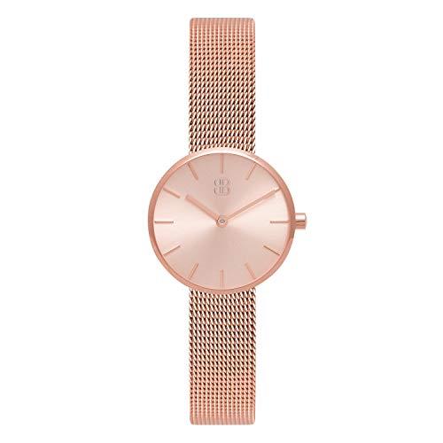 Byron Bond Mark 2 - Elegante Schmale Armbanduhr für Damen - Wasserdicht und aus Edelstahl - Modell: Kensington - Rosegoldenes Gehäuse mit rosegoldenem Zifferblatt und Milaneseband