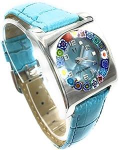 Antica Murrina Veneciana - Reloj de mujer cuadrado con correa de piel y cristal de Murano Correa azul celeste