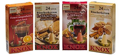Knox, set di 4 coni di incenso, per mercatino di Natale, pan di zenzero + mandorla bruciata, vin brulé + Feuerzangbowle – Taglia: M – 96 pezzi – Made in Germany