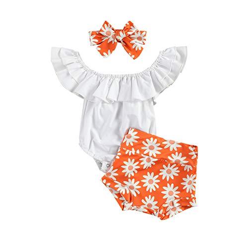 Conjunto de 3 piezas para recién nacidos de verano para niñas y bebés con hombros descubiertos