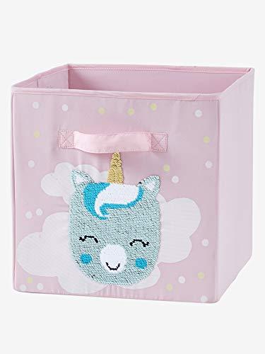 Vertbaudet 2 Aufbewahrungsboxen mit Wendepailletten rosa ONE Size