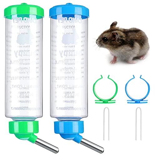 Bebedero Conejo Botella Cobaya de Agua Bebedero Hamster Antigoteo Dispensador de Agua Colgante de Plástico para Animales Pequeños Hámster Rata 2 Piezas 250 ml / Unidad