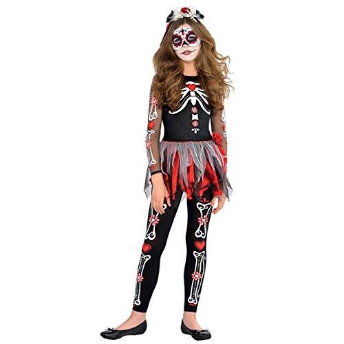 Nueva Amscan–adolescentes Halloween Miedo to the Hueso Niña Esqueleto Disfraz infantil de fiesta