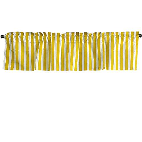 lovemyfabric Cotton Blend Striped Print Kitchen Curtain Valance Window Treatment (Yellow & White)