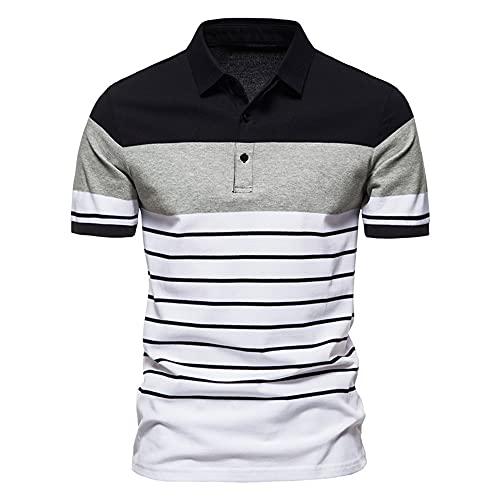 Manga Corta Hombre Botón Placket Rayas Hombre Casuales Camisa Tendencia T-Shirt Verano Ajuste Regular Negocios Casual Cómodo Wicking Polo Shirt G-G07 3XL
