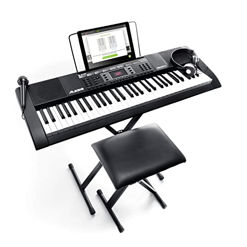 Alesis Melody 61 Key Keyboard Piano with 300 Sounds, Speakers, Digital Piano Stand, Bench, Headphones, Microphone, Music Lessons and Demo Songs