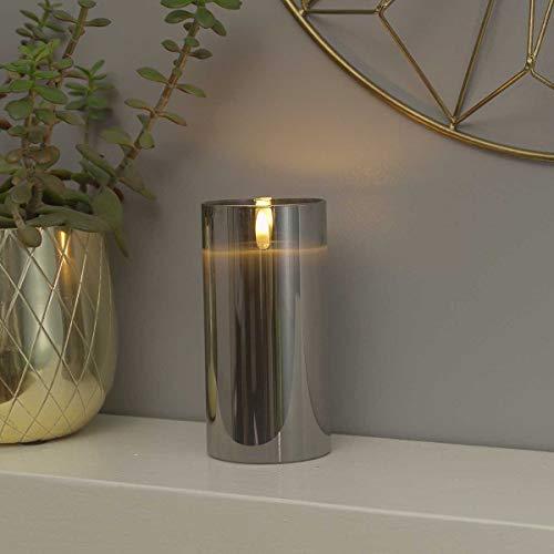 Festive Lights Echtwachs LED Kerze mit 3D-Echtflammen-Effekt – Weltneuheit 2019 - unglaublich echte Flamme mit brennenden Dochteffekt, batteriebetrieben - EXKLUSIV (Grau im getönten Glas, 15cm L)