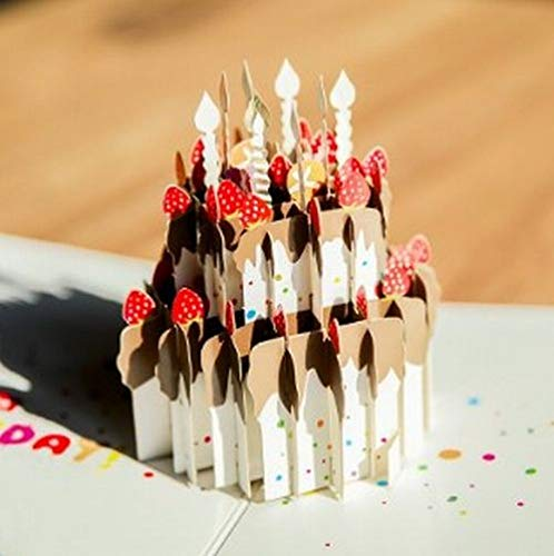 Happiest 誕生日 バースデー [ 立体 ] お祝い ホビー グリーティングカード 3D ポップアップ メッセージカード (立体ケーキ)