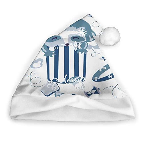 Mapache Cubo de Basura Parques Animales al Aire Libre Sombrero de Papá Noel Sombrero de Papá Noel de Navidad Felpa Corta con puños Blancos Tela de Felpa Sombrero de Navidad para Adultos