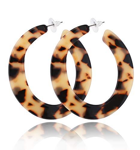 Acrylic Earrings For Women Girls Mottled Hoop Earrings Bohemia Geometry Resin Hoops Stud Earrings Fashion Jewelry (Leopard)