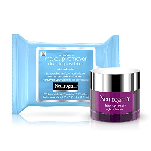 Neutrogena Makeup Remover Cleansing Face Wipes Value Twin Pack and Neutrogena Triple Age Repair Anti-Aging Night Cream with Vitamin C, Glycerin & Shea Butter, 1.7 oz