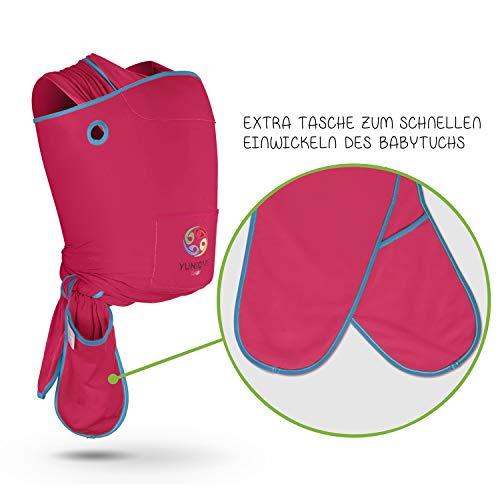 YUNIQME® Harmonie Babytragetuch – sehr weiche 100% Baumwolle – elastisches Tragetuch – Baby Tragetuch für Neugeborene mit bestem Tragegefühl – OEKO TEX – verschiedene Trendfarben - 4